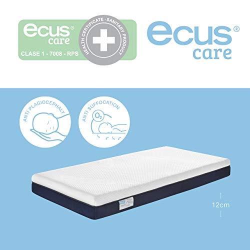 Ecus Care, 117cm x 57cm, colchón de cuna anti plagiocefalia