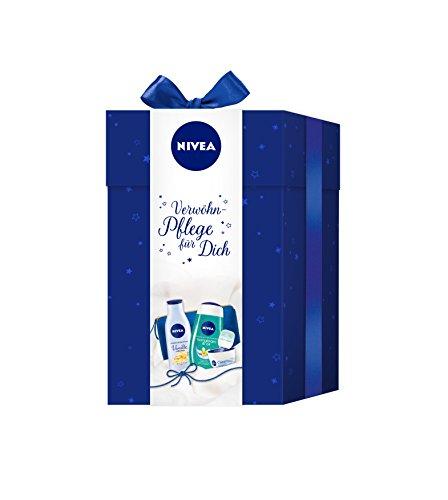 NIVEA Geschenkset mit Creme, Körperlotion, Duschgel und Labellino, Pflegeset Green, 4 Stück