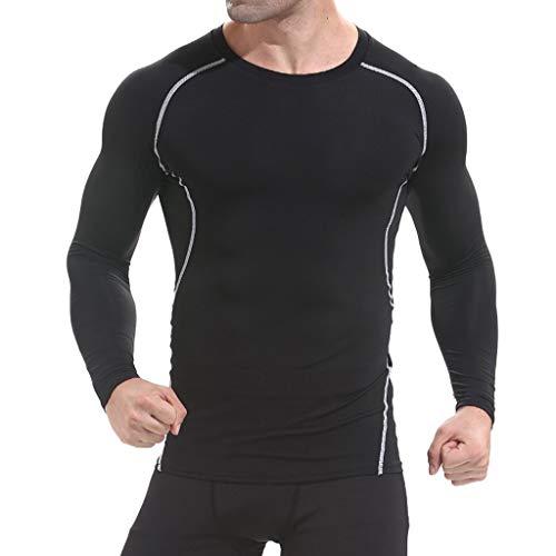 Mymyguoe Camiseta de Compresión de Mangas Largas Largas para Hombre Secado  Rápido Slim Fit Deportivos Secado Rápido para Ejercicio Gimnasio  Entrenamiento ... ebd5b8b7b725b