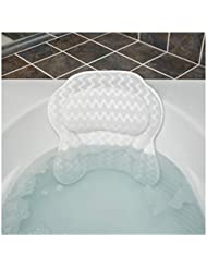 Bath Haven Badewannenkissen Luxuriöses Nackenkissen Badewanne, Wannenkissen - Schnell Trocknendes Badekopfkissen, Maschinenwaschbar - Inklusive Waschbeutel Und Reisetasche – Weiß (Luxus-Flucht)
