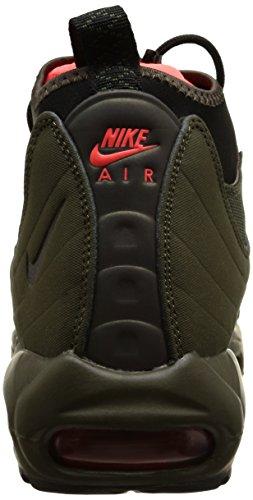 Nike Air Max 95 Sneakerboot, chaussure de course homme Vert / Naranja / noir / Plata (Drk Ldn/Blk-Crg Khk-Brght Crms)