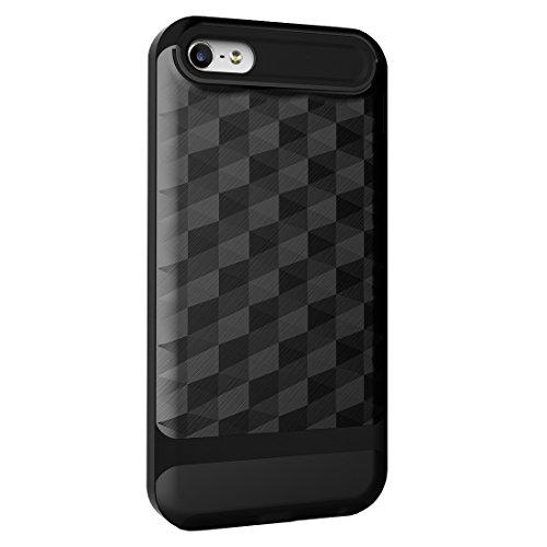 iPhone SE Hülle, HICASER Dual Layer Case Shock Proof Prism Textur TPU +PC Bumper Handytasche Schutzhülle für iPhone 5 / 5s / SE Schwarz / Rot Schwarz