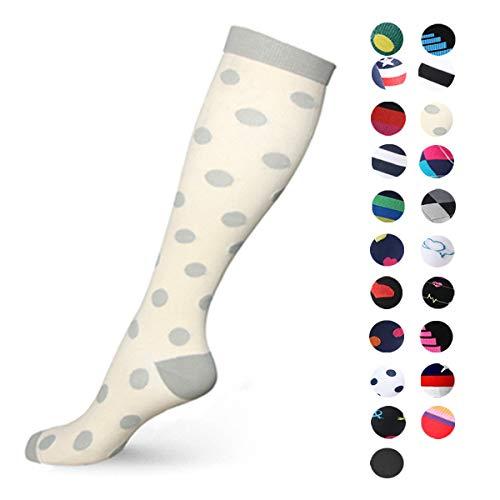 Gnpolo Kompressionsstrümpfe für Damen, 15-20 mmHg - sportliche Lauffüße, Krankenschwestern, Damen, 09 Polka Dot Socks, Large/X-Large - 09 Womens Schuhe