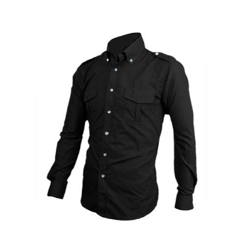 Man Brusttasche Manschettenknopf Schulterklappen Stylisches Hemd Schwarz