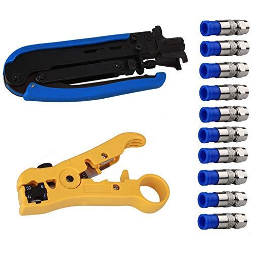 Yangoutool Koaxialkabel-Crimper Kit Koaxialkabel, RG6 RG59 RG11 75-5 75-7 Abisolierzange mit 10 F-Typ-Kompressionssteckern (7 Rca-tv)