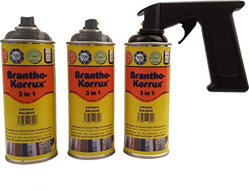 Preisvergleich Produktbild Brantho Korrux 3 x 3 in 1 schwarz 400ml Spraydose Rostschutz Metallschutzfarbe + Spraydosenhandgriff