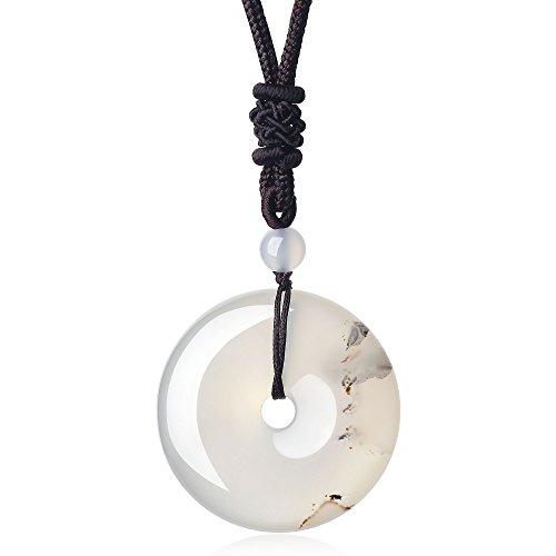 COAI Kreisring Anhänger aus Edelsteine Donut Anhänger Halskette für Damen/Herren (Achat-anhänger-halskette)