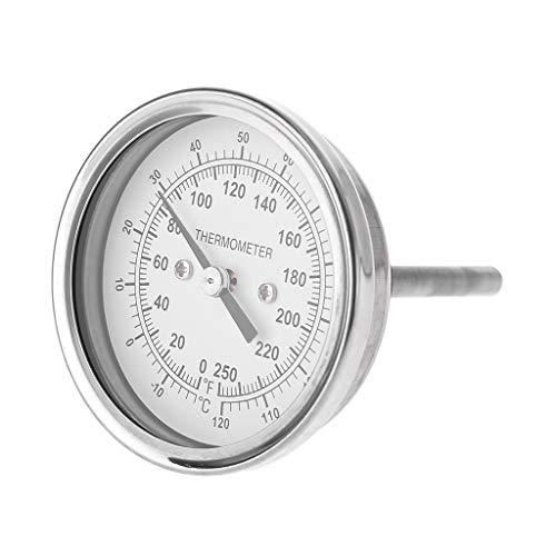 Watermk Home Brewing Thermometer Edelstahl Celsius Fahrenheit Wasser Destilliertemperaturanzeige Bimetall 1/2 \'\' NPT (2 \'\' Stem)