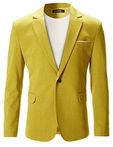 FLATSEVEN Chaqueta Blazer Slim Fit Casual Premium Hombre (BJ102) Amarillo, M