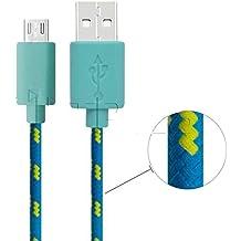 CAOLATOR 2 m de largo trenzado cable de cargador Micro USB de sincronización de datos para teléfono Android Samsung, Kindle, HTC, Motorola, Sprint, Nokia, LG, HP, Sony, Blackberry