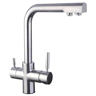 DP Griferia – Grifo de cocina de caño alto con sistema de osmosis, doble salida
