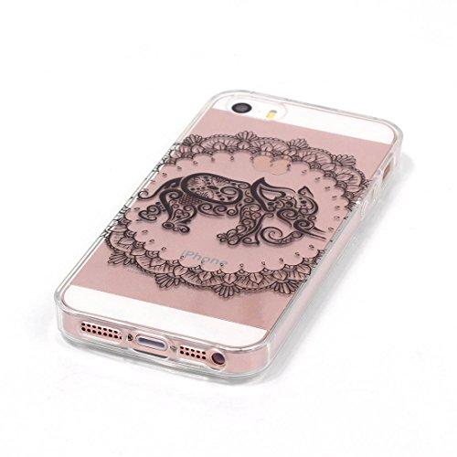 Lotuslnn iPhone 6/6S Coque (4.7 Pouce),Apple iPhone 6/6s TPU Silikon Etui Transparent Housse Cases and Covers (Coque+ Stylus Pen + Tempered Glass Protective Film)- fleurs de cerisier l'éléphant B