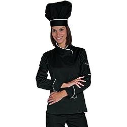 Isacco-Veste de cuisine pour femme Lady Snaps, noire et blanche, Taille M, 65% polyester 35% coton, manches longues