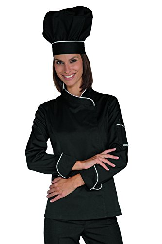 Isacco Lady Snaps Jacket Isacco Nero+Weiß, Größe XL, 65% Polyester, 35% Baumwolle, langärmlig Xl Workwear-snap