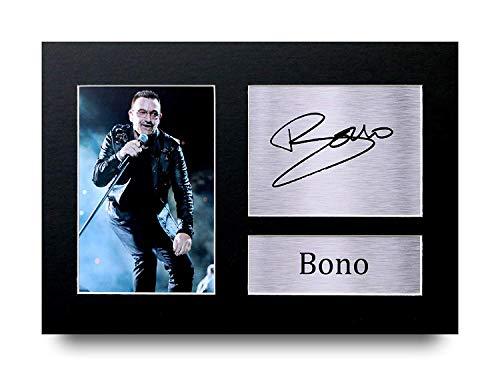 Bono I Regali Firmarono A4 Stamparono Autografo U2 Rock Música Stampi Mostra di Ritratto di Fotografia