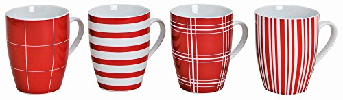 Modernes Porzellan Kaffeetassen 4er Set  I 10cm hoch - Ø 8cm - 300ml I Große Kaffee Tasse in rot /...