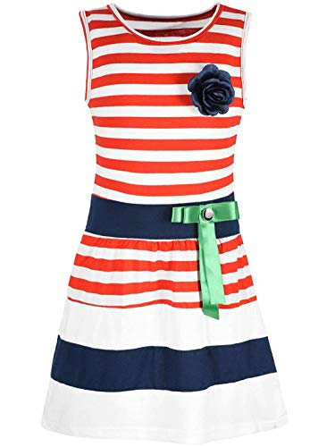 Kmisso Mädchen Kleid Kinder-Kleider Sommer-Kleid Ärmellos Gestreift Schleife 30049 Rot 128