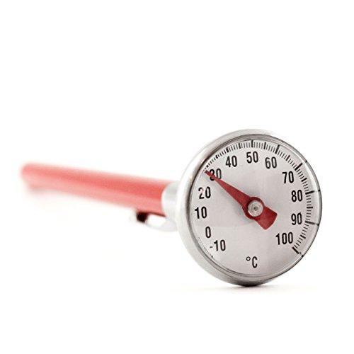 Fleisch Thermometer Braten (Einstich - Fleisch - Braten Thermometer Wasserdicht . Einstichthermometer Bimetall und Analog rot mit Clip . Spülmaschinenfest)