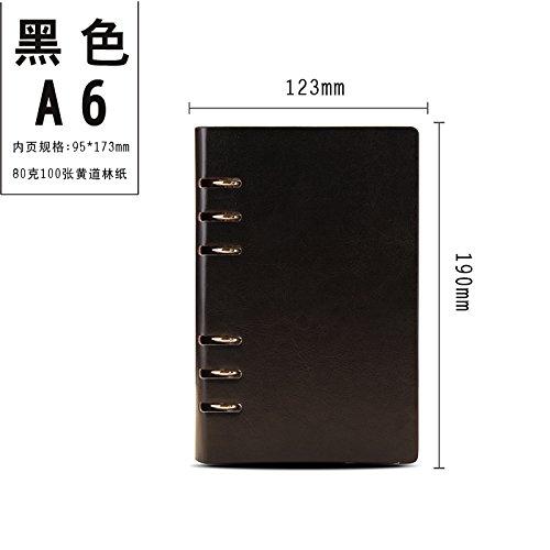 WRITIME Notizbuch A6 schwarz Benutzerdefinierte lose-Blatt Notebook Business Notebook Schreibwaren 6-Loch-Clip Notebook Tagebuch