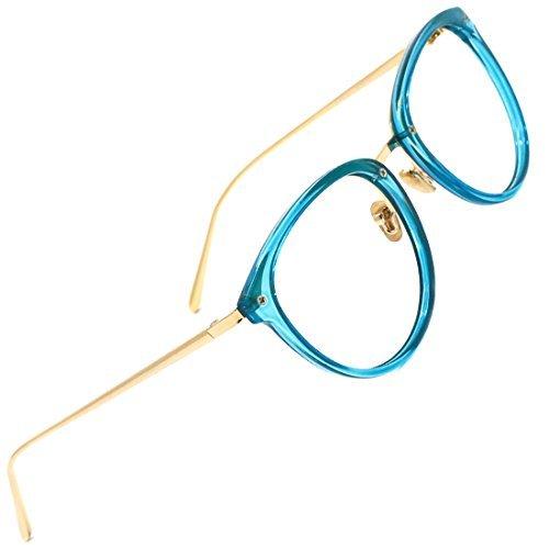 TIJN Damen Retro Runde Optische Brille Ohne Stärke Rahmen Brillenfassung Blau
