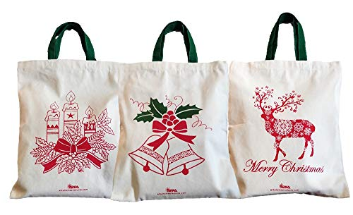 Arka Christmas Gift Bags (Set of 3) 100% Cotton Canvas, Eco-Friendly (12 X 14 inches, Off-White)