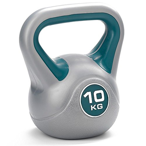 DKN Vinyl Kettle Bell - Grey/Blue, 10 kg