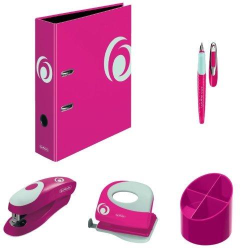 herlitz Büro-Set - Ordner, Schulfüllhalter, Köcher, Bürolocher, Heftgerät und Zettelkasten, Farbe Cool Pink