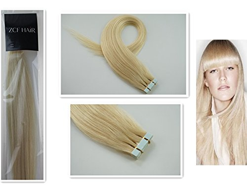 Style 16'' 100% Real Human Hair Tape-In Human Hair Extensions Straight Hair Color 60 Platinum Blonde 30g Beauty Design Salon by COOL-BEAUTY
