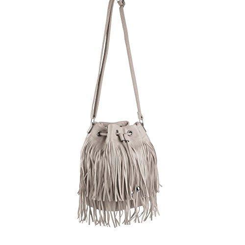 Obc Made In Italy Borsetta Da Donna Pelle Camoscio Frange Shopper Borsa A Tracolla 28x27x15 Cm Bxhxt - Beige 28x27x19 Cm 28x27x19 Cm