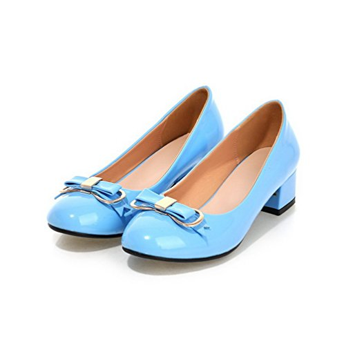 AgooLar Femme Pu Cuir à Talon Bas Rond Mosaïque Tire Chaussures Légeres Bleu