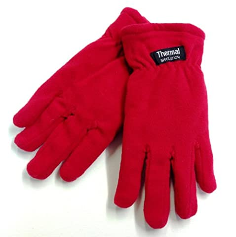 1 no. pair Ladies Microfibre Fleece Gloves Thermal Insulation fully lined One Size (Red)