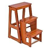 COSTWAY Leiterstuhl Tritthocker Trittstuhl Trittleiter Haushaltsleiter Hockerleiter, aus Massivholz, klappbar, 3 Stufen, braun