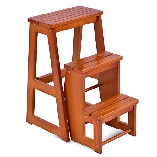 Schlafzimmer Klar Beistelltisch (COSTWAY Leiterstuhl Tritthocker Trittstuhl Trittleiter Haushaltsleiter Hockerleiter, aus Massivholz, klappbar, 3 Stufen, braun)