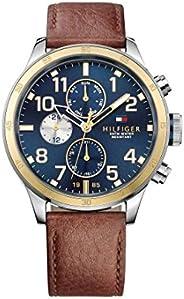 ساعة متعددة الاستخدامات مع سوار من الجلد باللون البني للرجال من تومي هيلفجر - طراز TH1791137J