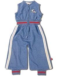 Baby Boum Cotton-rich, Jersey Lightweight 1 Tog Jumpsuit cum Sleeping Bag in Retro Sport Sprint Design (Navy Blue,0-9 months)