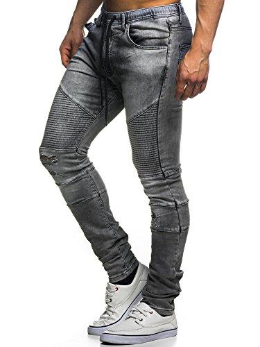 Leif Nelson LN400 Jogg Jeans biker matelassé pour homme Dunkel Grau