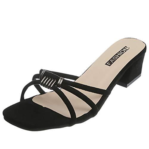 DQANIU- Damenschuhe, Tasche & Schuhzubehör - Damen Sandalen Damen Sommer Wild Flock Karree Sandalen Freizeitschuhe Party Sandalen
