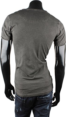 TAZZIO Herren T-Shirt Polo-Shirt Hemd Kurzarm Pullover Sweatshirt Rundhals Anthrazit