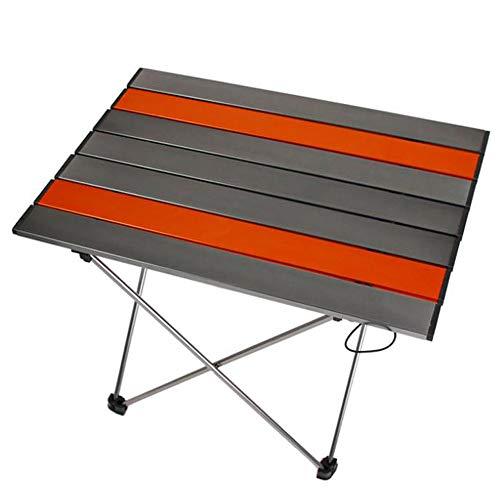Table pliante en aluminium d'extérieur, table pliante de camping portatif ultra-léger, table pliante multifonctionnelle, table pliante portante superbe ( Couleur : Silver-gray orange , taille : M )