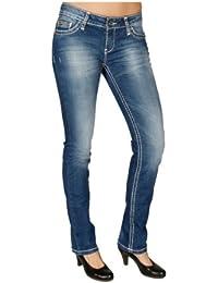 Cipo & Baxx Damen Jeans Hose CBW-232 mit dicken Kontrastnähten