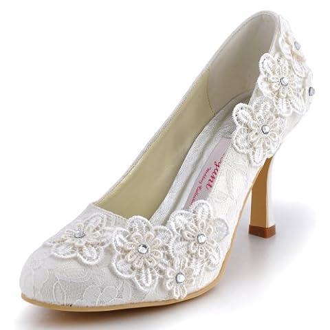 Elegantpark EP11099 Ferme Fleurs Dentelle Aiguille Talon Haut Pumps Femme Escarpins Chaussures de Mariage Mariee Soiree Ivoire 36