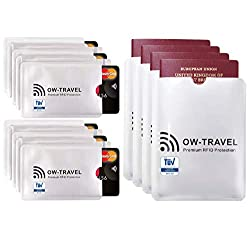 ? Bloqueo RFID - ANTI FRAUDE - Protectores para Tarjetas de Crédito Débito Sanitaria Identificaciones - Protector Pasaporte - Protección 100% de RFID & NFC (Fundas para Tarjeta de Crédito 10+4)