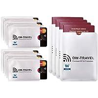 ✅ Bloqueo RFID - ANTI FRAUDE - Protectores para Tarjetas de Crédito Débito Sanitaria Identificaciones - Protector Pasaporte - Protección 100% de RFID & NFC (Fundas para Tarjeta de Crédito 10+4)