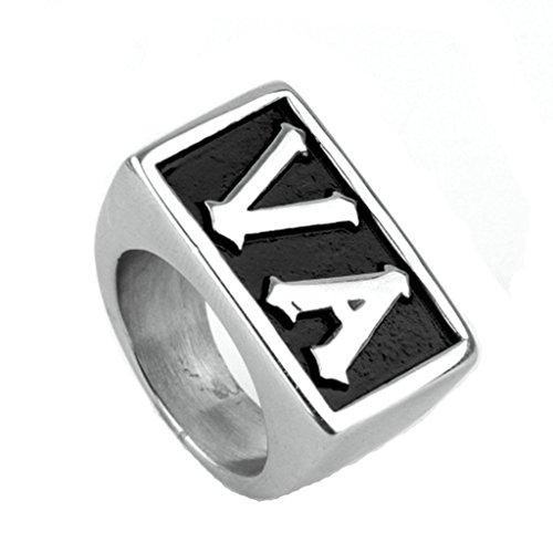 BeyDoDo Modeschmuck Edelstahlring Ring Edelstahl Herren Alphabet Buchstabe VA Herrenringe Ring Silber Ringgröße 72 (22.9) (Alphabet Buchstaben Kostüme)