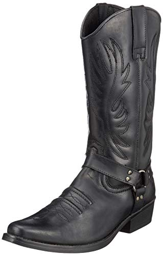 Mens Leather Cowboy Pull On Western Harness Cuban Heel Smart Ankle Boots UK 6-13 - REINO UNIDO 13 / UE 47, Negro