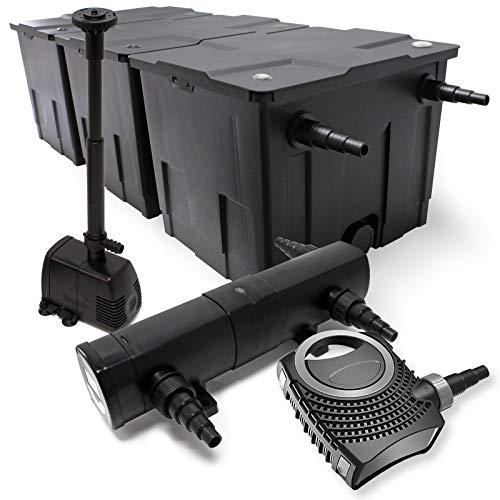 WilTec Kit de Filtration Bassin Bio 90000l Stérilisateur UVC 18W 80W Pompe éco Fontaine