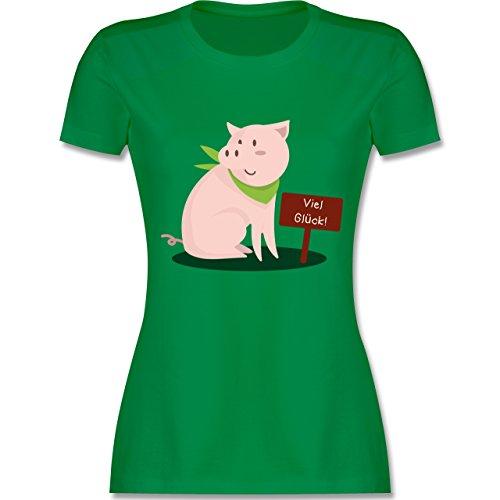 Sonstige Tiere - Glücksschweinchen - tailliertes Premium T-Shirt mit Rundhalsausschnitt für Damen Grün