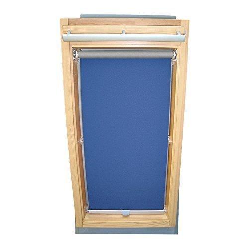 Sonnenschutz-HH Hochwertiges Abdunkelungsrollo Rollo Thermo blau für Velux DG/RG-EP VL,VG,VX 085 ALU // Verdunkelungsrollo/Verdunkelungs-Rollo/Fensterrollo