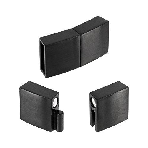 AURORIS - flacher Magnetverschluss aus Edelstahl matt-schwarz - Loch: 10x3mm / 3 Stück