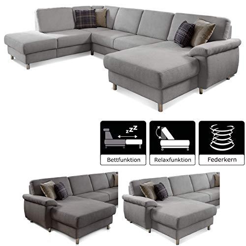 CAVADORE Wohnlandschaft Winstono mit Federkern und Longchair rechts / U-Form mit Bettfunktion und Relaxfunktion / 317 x 88 x 220 / Hellgrau